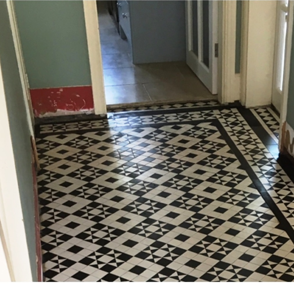 Black White Edwardian Geometric Floor After Restoration Quorn