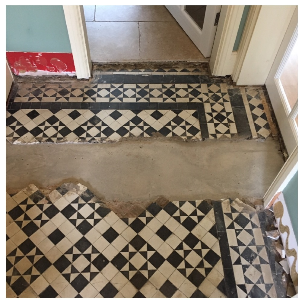 Black White Edwardian Geometric Floor Before Restoration Quorn