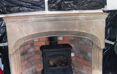 Stone Fireplace Before Restoration