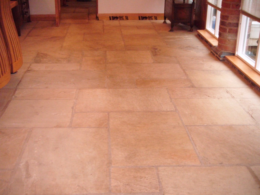Sandstone Floor in Loughborough Before Cleaning