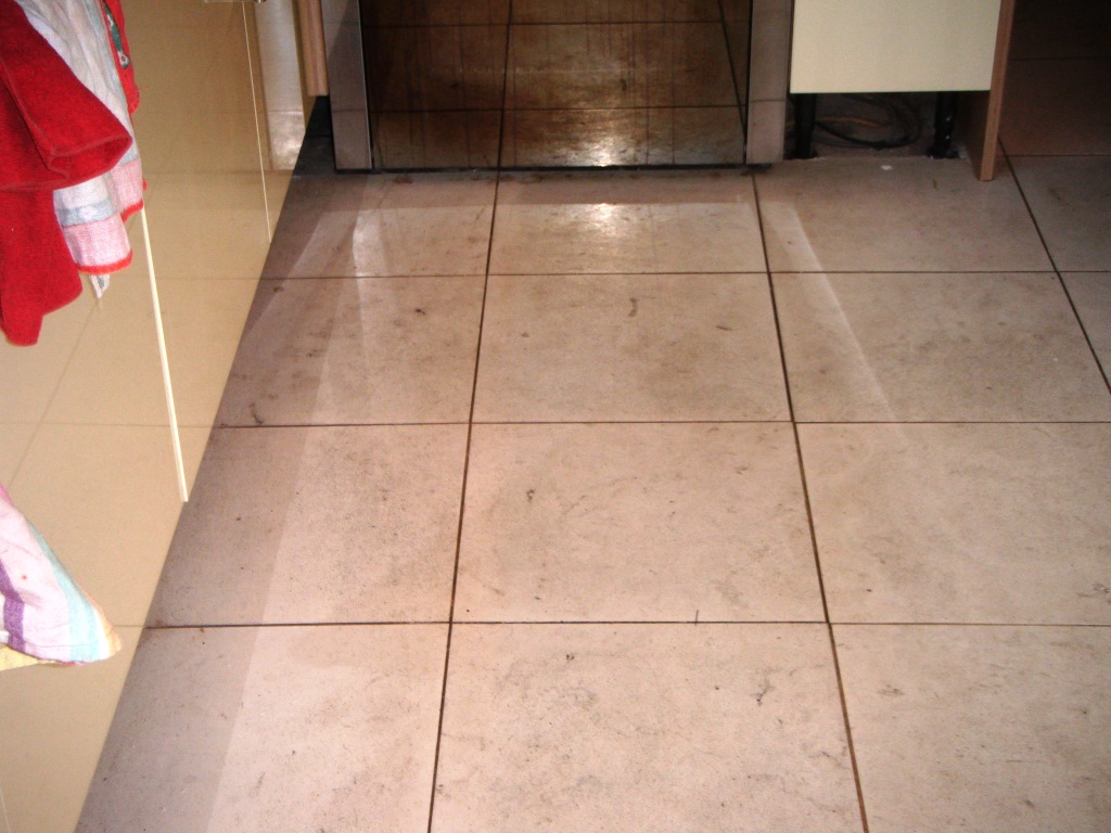 Limestone Tiled Floor Before Cleaning Market Harborough