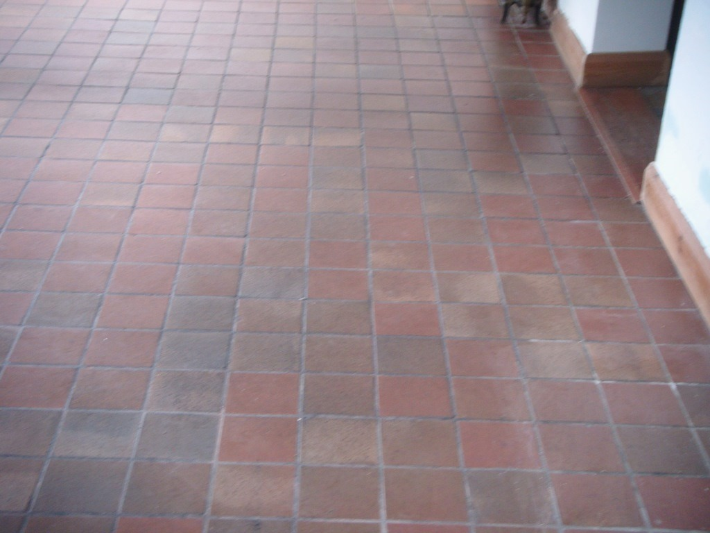 Quarry Tiles Cleaned in Hinckley Before