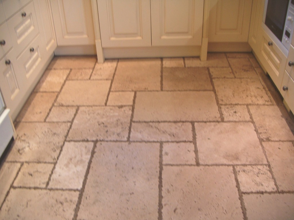 Travertine Tile Cleaning in Oadby Kitchen Before