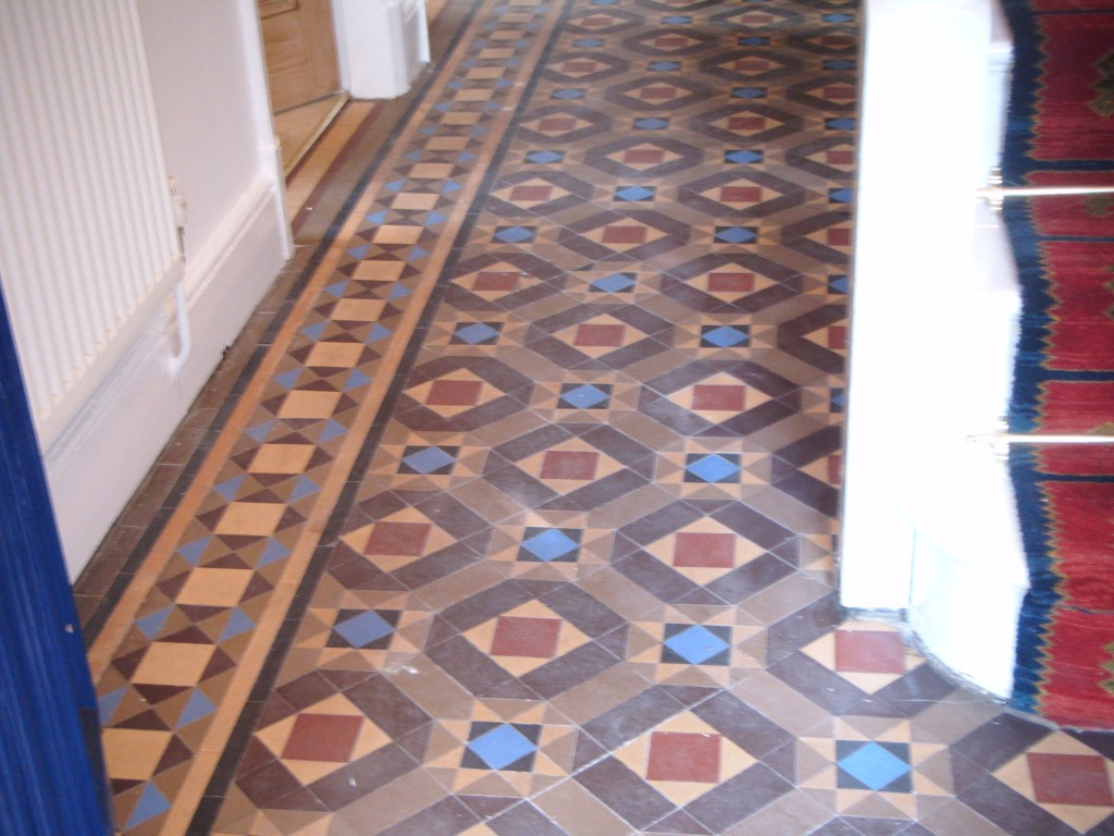 Victorian Tiled Floor Melton Mowbray Before Cleaning