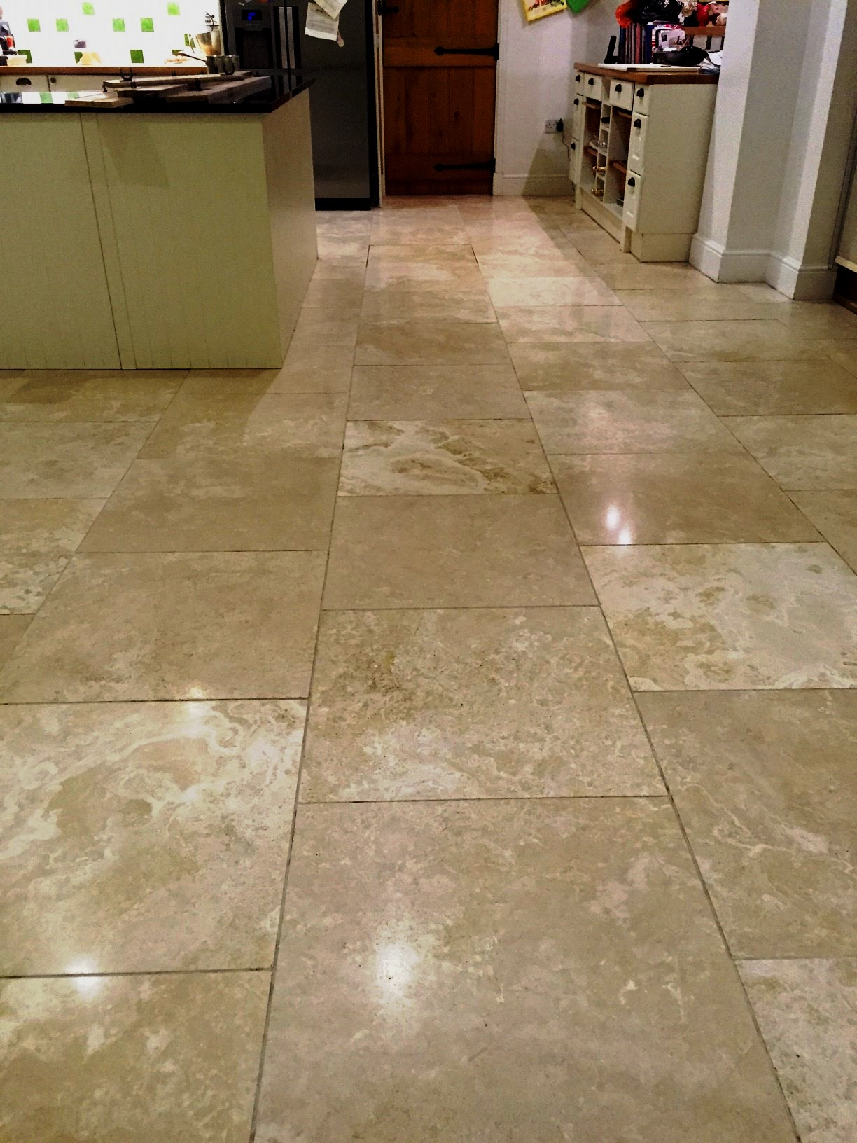 Travertine Kitchen Floor Tiles Lutterworth After Polishing