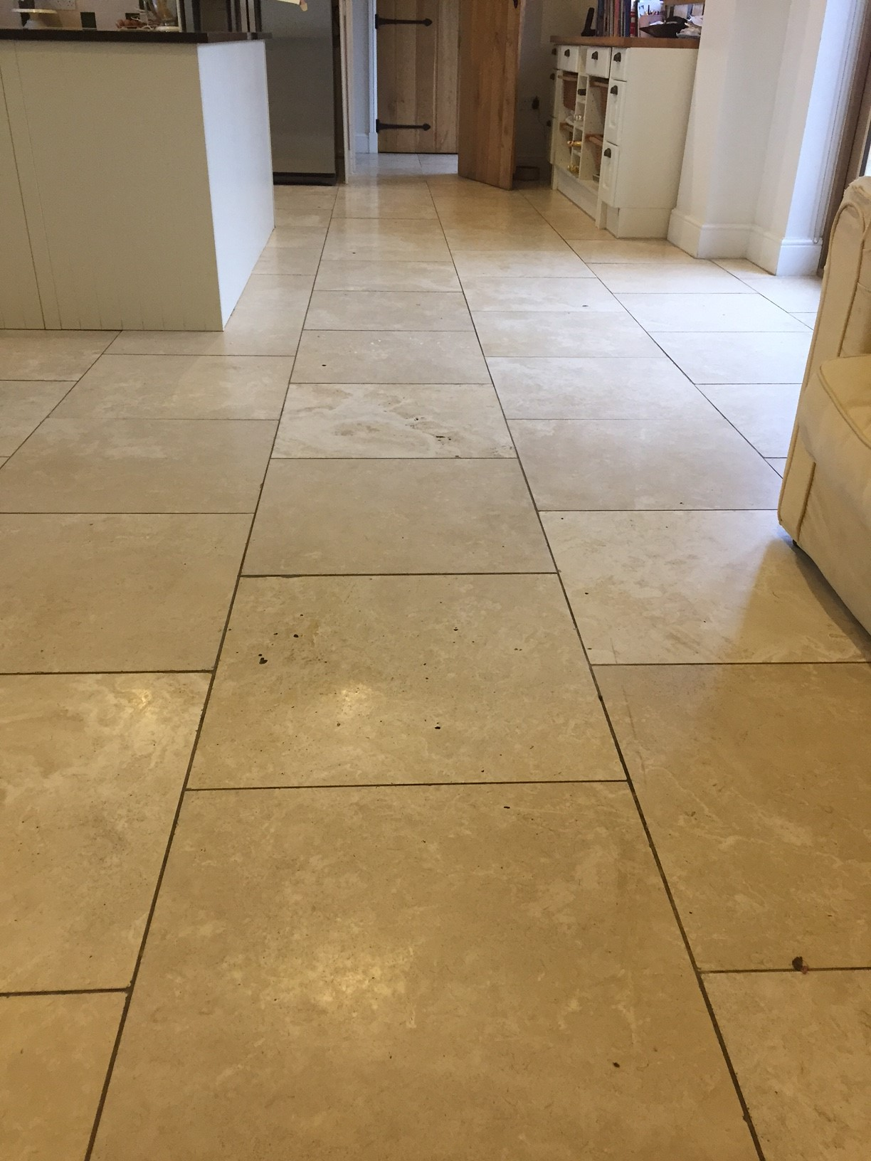 Travertine Kitchen Floor Tiles Lutterworth Before Polishing