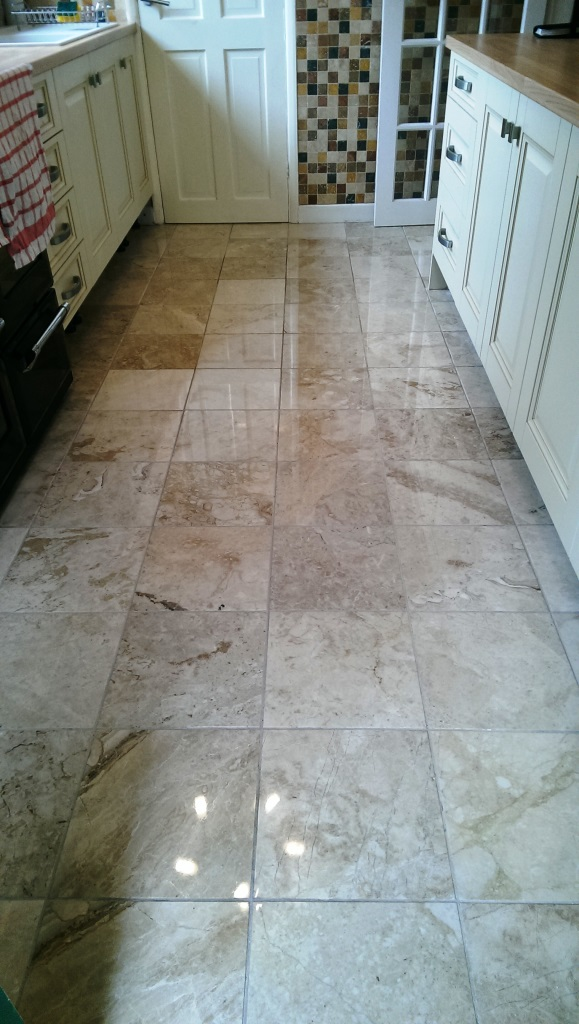 Polished Marble Kitchen Floor in Leicester After Cleaning
