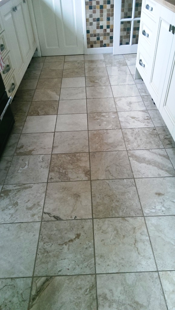 Polished Marble Kitchen Floor in Leicester Before Cleaning