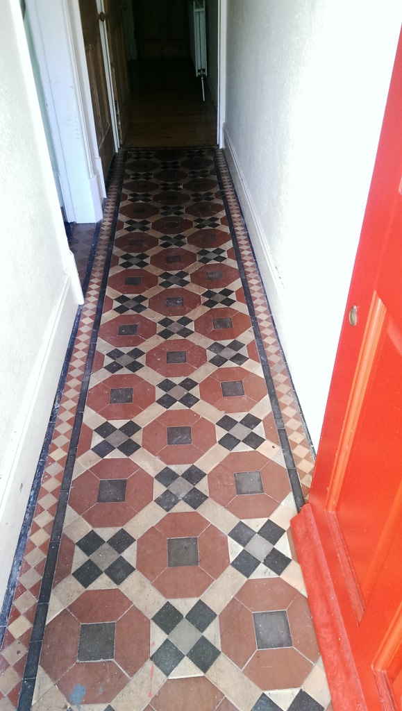 Victorian Tiled Hallway Before Cleaning in Coalvile