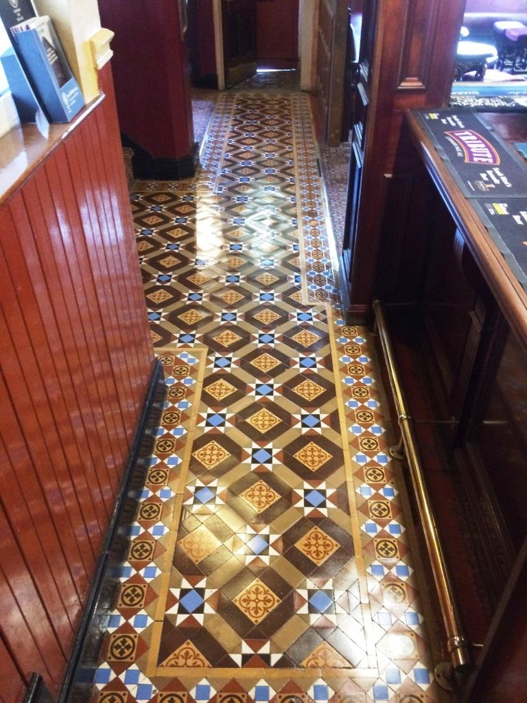 Victorian Tiled Public House Floor After Cleaning in Hinckley