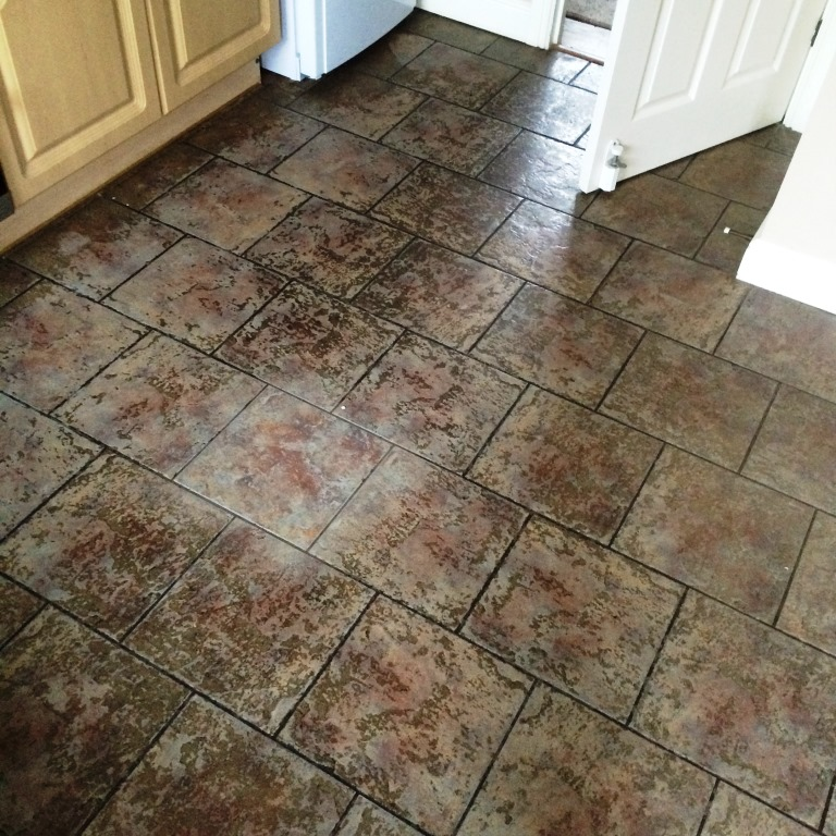 Heavily Soiled Ceramic Tiled Kitchen Floor Before Cleaning Blaby