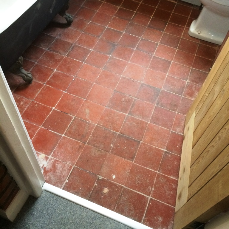 Quarry Tiled Floor Before Restorative Cleaning and Sealing Braunstone