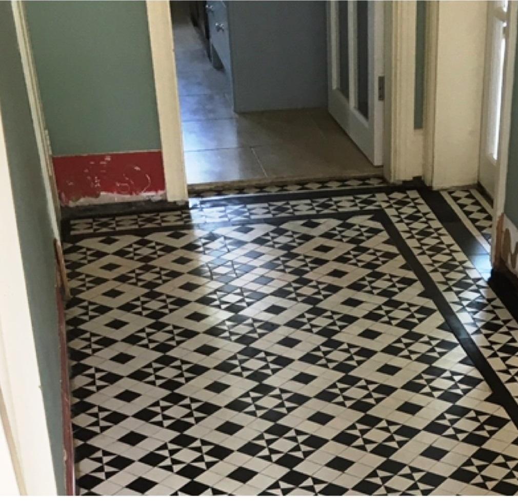 Black White Edwardian Geometric Floor After Restoration Quorn