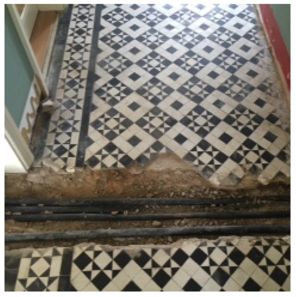 Black White Edwardian Geometric Floor During Restoration Quorn