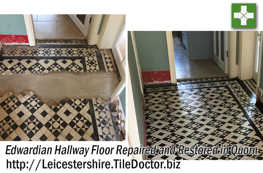 Edwardian Tiled Hallway Tiles Before and After Restoration Quorn