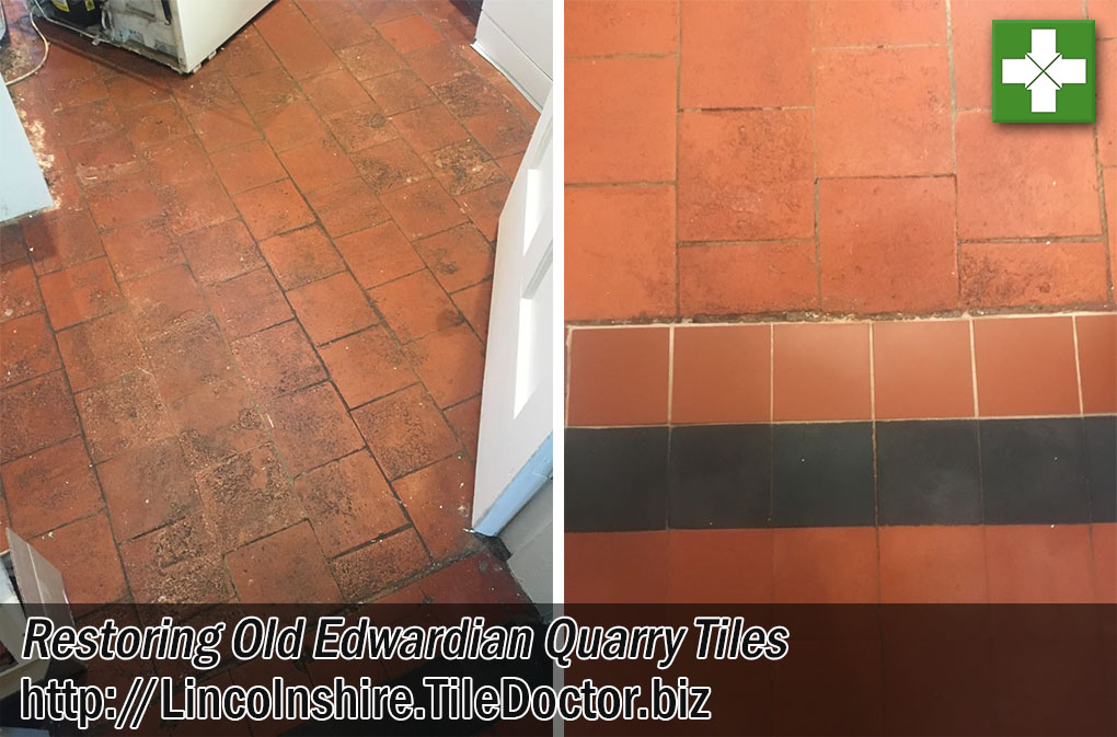 Quarry Tiled Floor Before and After Restoration Market Harbourough