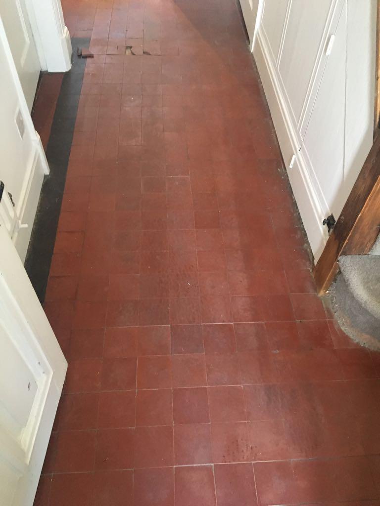 Quarry Tiled Floor During Restoration Market Harbourough
