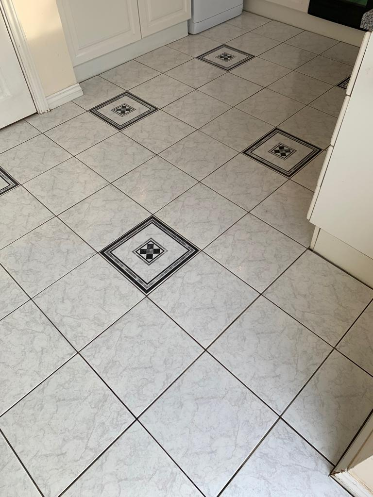 Ceramic Tiles with Carpet Adhesive Contamination After Cleaning Measham