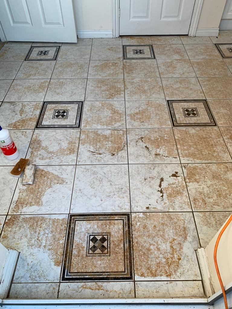 Ceramic Tiles with Carpet Adhesive Contamination Before Cleaning Measham