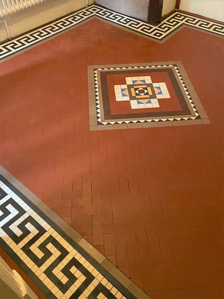 Craven Dunhill Geometric Tiled Hallway Floor After Repair Birstall