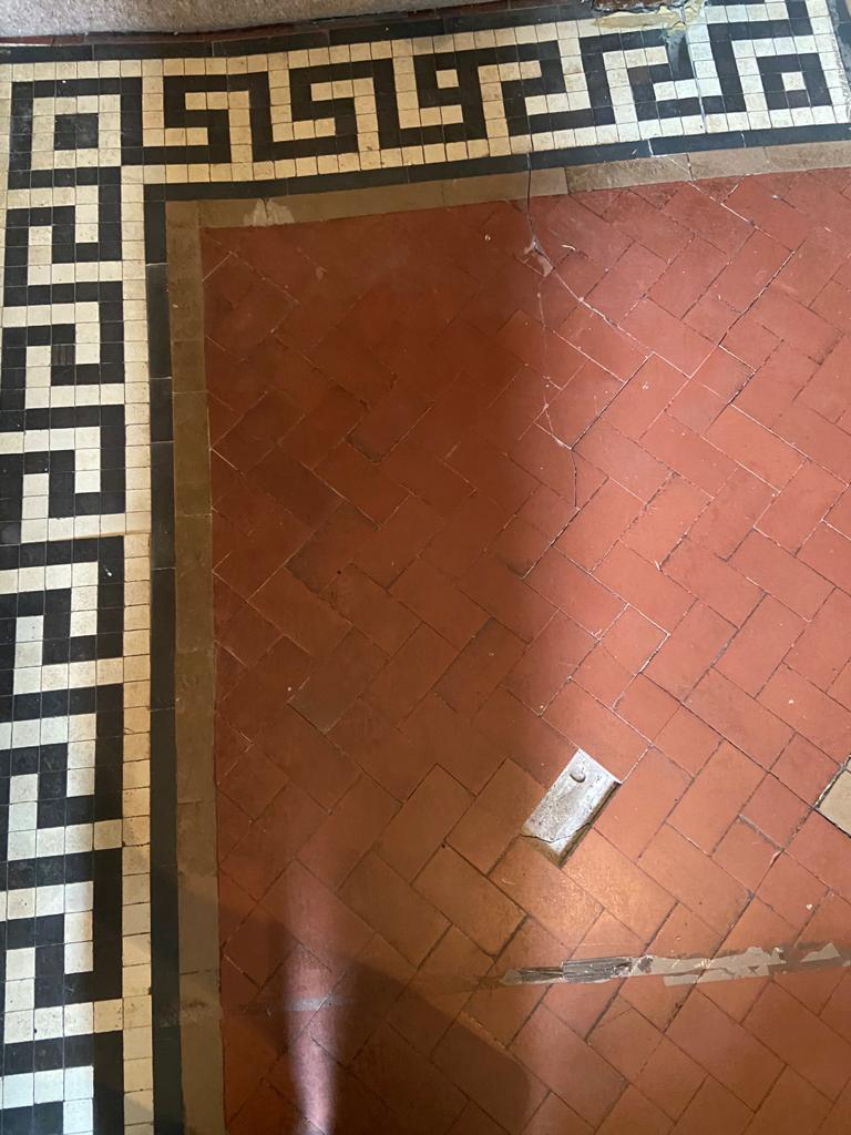 Craven Dunhill Geometric Tiled Hallway Floor Before Repair Birstall
