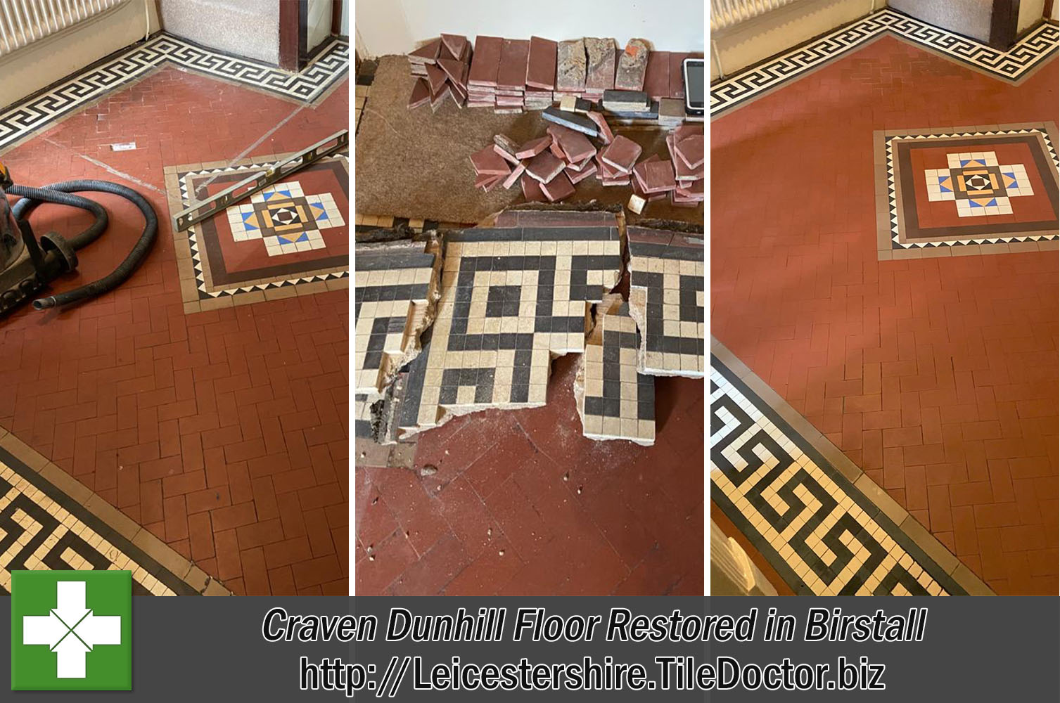 Edwardian Geometric Craven Dunhill Tile Restoration in Birstall
